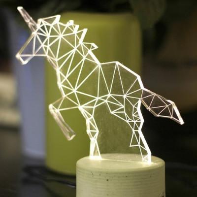 Einhorn Tischlampe | Grau