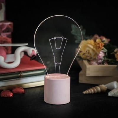 Freiliegende Glühbirne Tischlampe | Light Pink