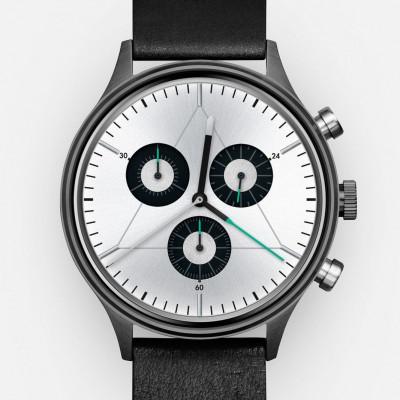 The Engineer Analog Watch   PVD Gunmetal, Black Leather Strap