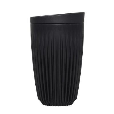 Wiederverwendbare Kaffeetasse + Deckel Huskee 36 cl | Holzkohle