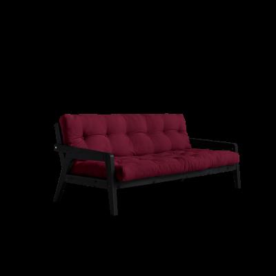 Sofabed-Greifer | Schwarzer Rahmen + Bordeaux-Matratze