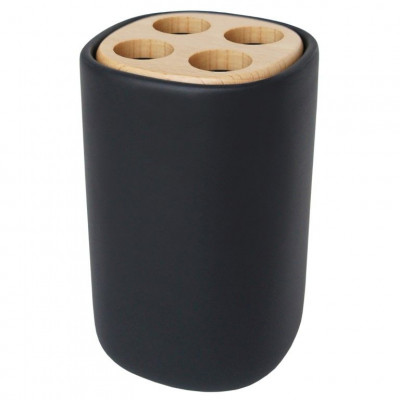 Toothbrush Holder with Wooden Lid | Black