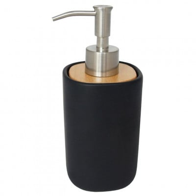 Soap Dispenser with Wooden Lid | Black