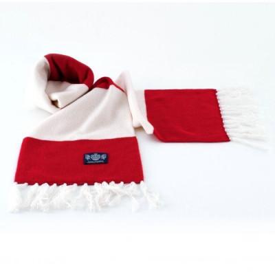 Weißer und roter Deluxe-Kaschmirschal