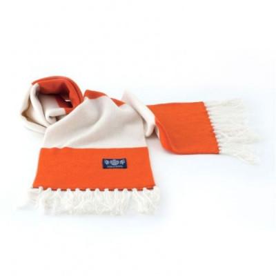 Deluxe-Kaschmirschal in Weiß und Orange