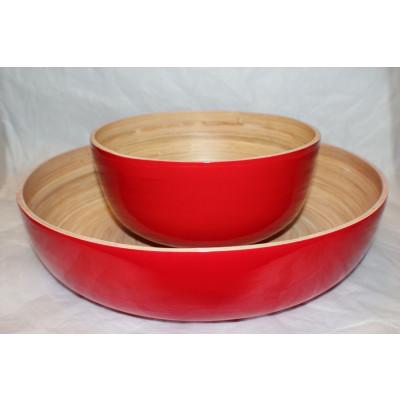 Salatschüssel aus Bambus Rot