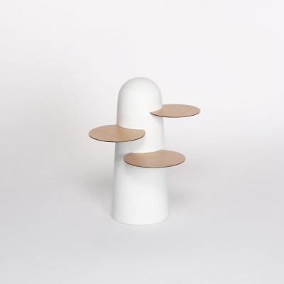 BoBo Beistelltisch   Weiß mit Holzblättern