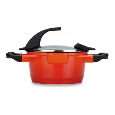 Stielkasserolle mit Deckel 16 cm | Orange