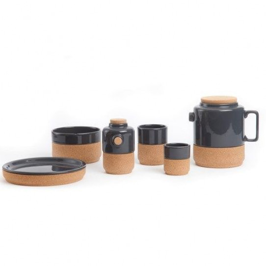 Set van 2 thee/koffietassen donkergrijs
