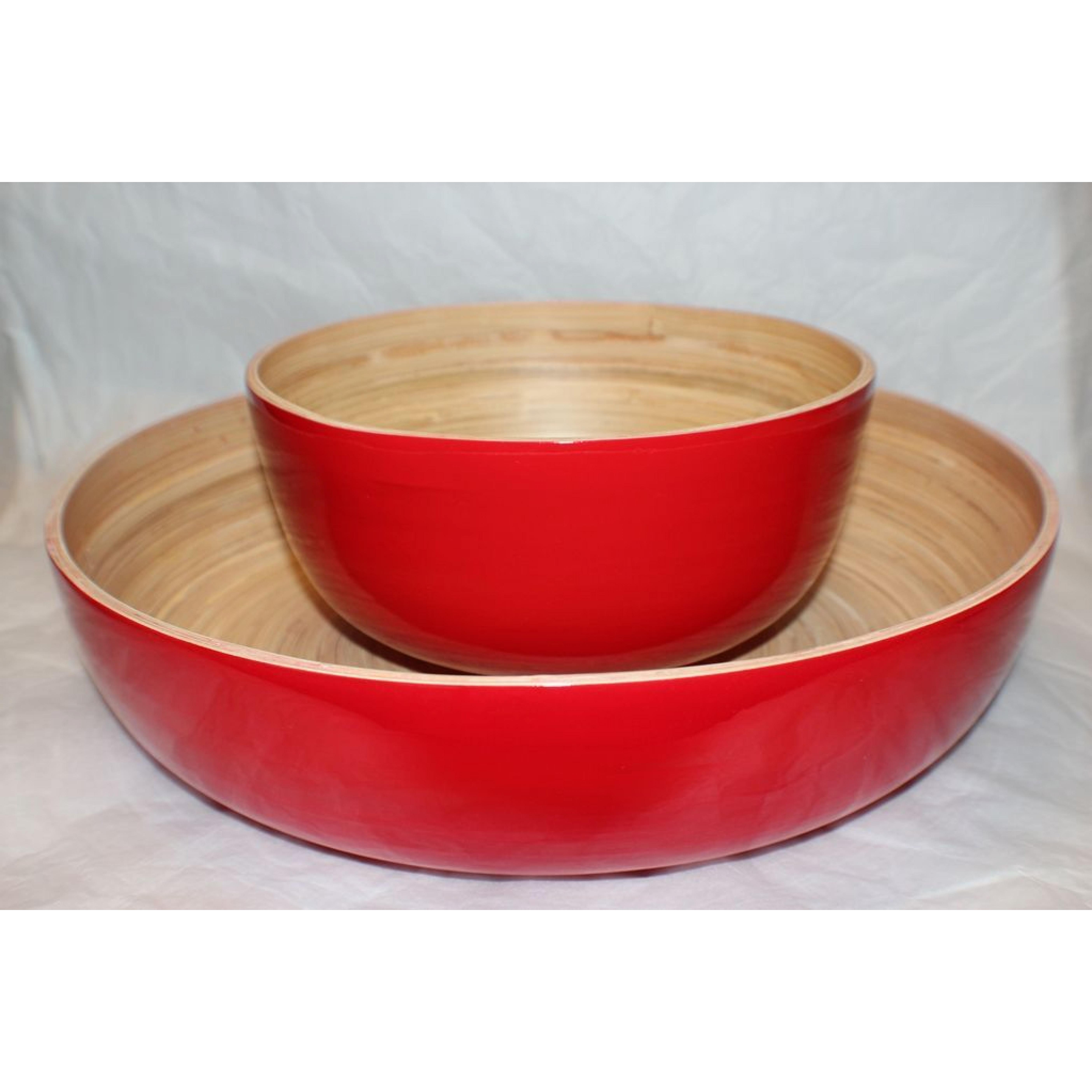 Bamboo Salad Bowl Red