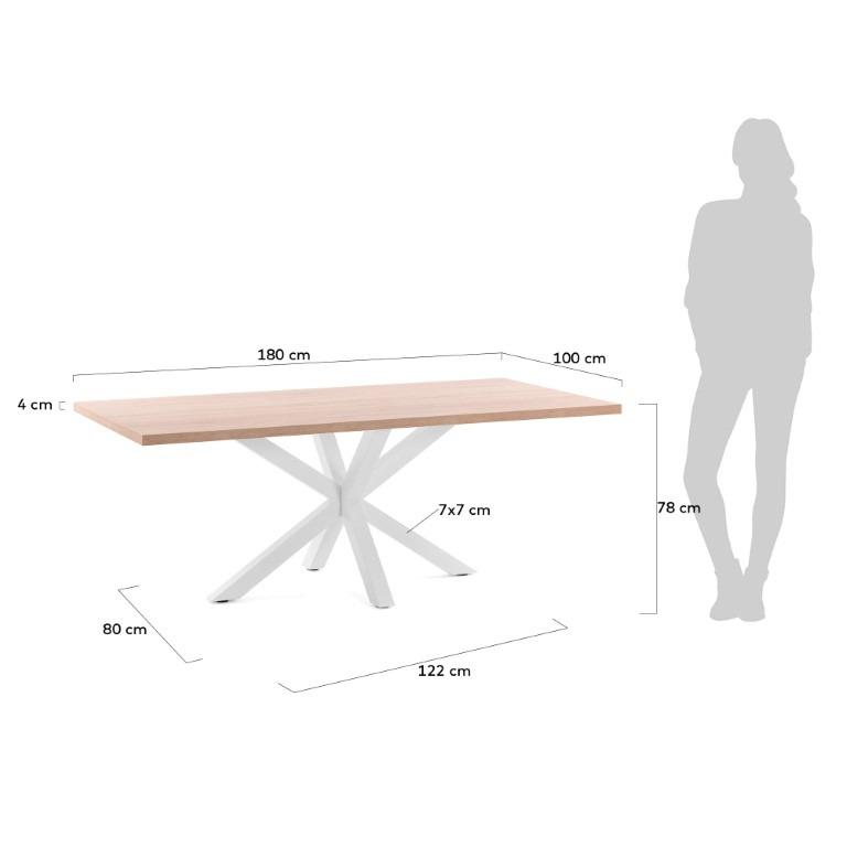 Table Arya   180 x 100 cm Melamine Natural Finish Steel Legs