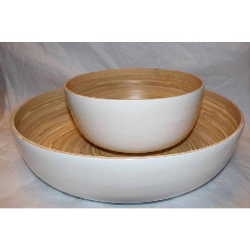 Bamboo Salad Bowl White