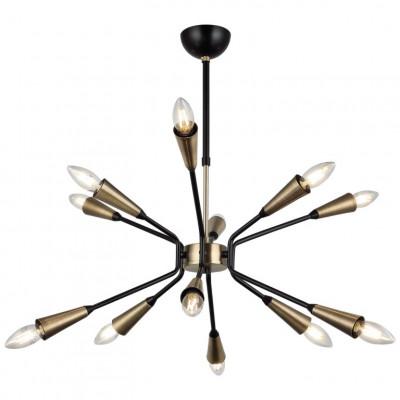 Metallkronleuchter Trapa | 12 Lichter | Gold Schwarz