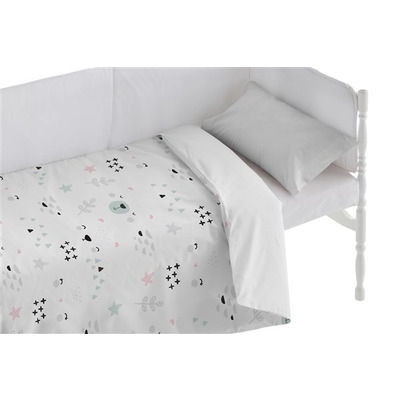 Kinderbett Bettbezug Faces I Weiß 100x120 + 50x30 cm