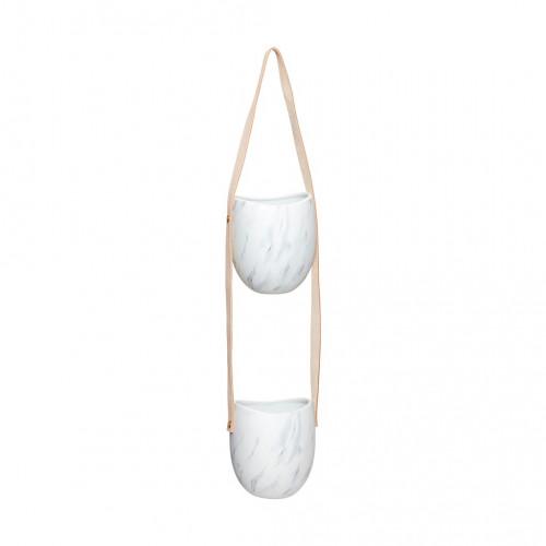 Blumentopf mit Lederriemen Doppelt | Weiß & Grau