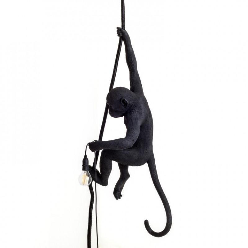 Außenlampe Affe mit Seil   Schwarz