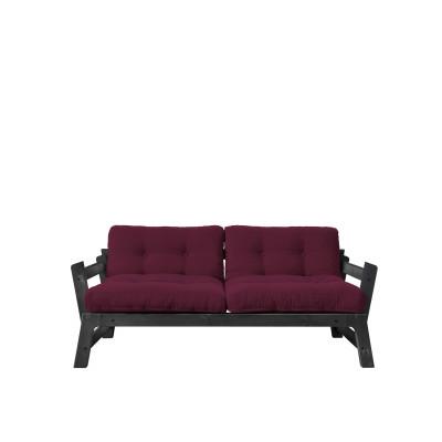 2-Sitzer-Sofa Stufe | Schwarzes Gestell & Bordeaux Sitzfläche