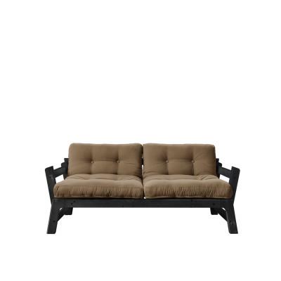 2-Sitzer-Sofa Step | Schwarzes Gestell & Mocca-Sitzfläche