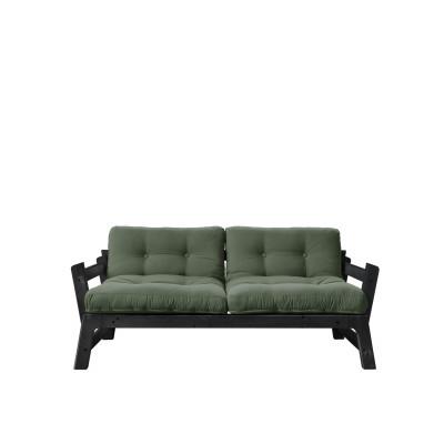 2-Sitzer-Sofa Step | Schwarzes Gestell & olivgrüne Sitzfläche