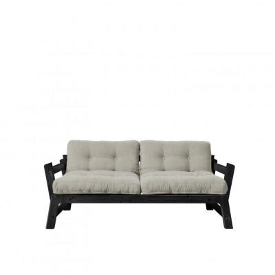 2-Sitzer-Sofa Stufe | Schwarzer Rahmen & Sitz aus Leinen