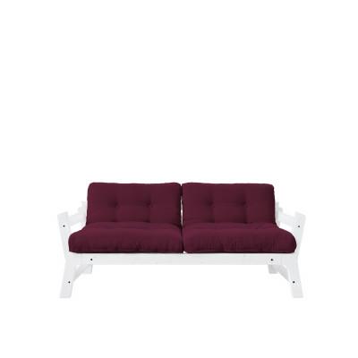 2-Sitzer-Sofa Stufe | Weißer Rahmen & Bordeaux Sitzfläche