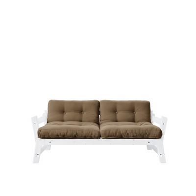2-Sitzer-Sofa Stufe | Weißer Rahmen & Mocca Sitzfläche