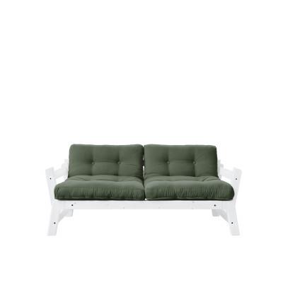 2-Sitzer-Sofa Stufe | Weißer Rahmen & olivgrüne Sitzfläche