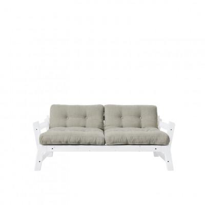 2-Sitzer-Sofa Stufe | Weißer Rahmen & Sitz aus Leinen