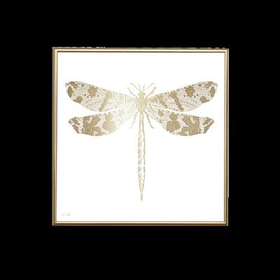 Poster 24K Gold Libelle | Weiß
