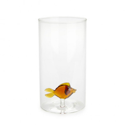 Vase Atlantis-Fisch Bernstein | Zylindrisch