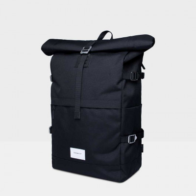 Rucksack BERNT | Schwarz mit schwarzem Leder