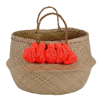 Tassel Basket   Neon Coral