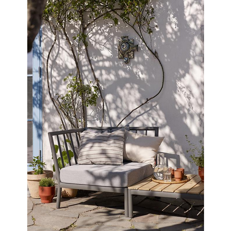 Outdoor-Sofa Eckmodul Tradition | Aschgrau / Dunkelgrau