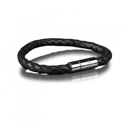 Leather Bracelet 6 mm Steel | Black