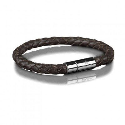Leather Bracelet 6 mm Steel | Dark Brown