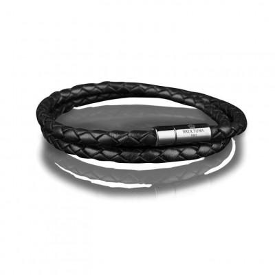 Leather Bracelet 4 mm Steel | Black