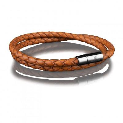 Leather Bracelet 4 mm Steel | Brown