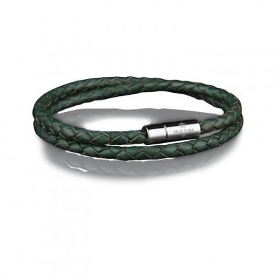 Leather Bracelet 4 mm Steel | Dark Green