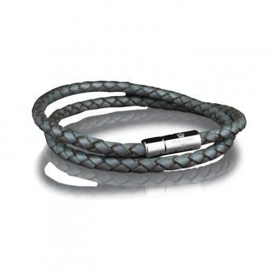 Leather Bracelet 4 mm Steel | Grey