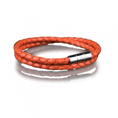 Leather Bracelet 4 mm Steel | Orange