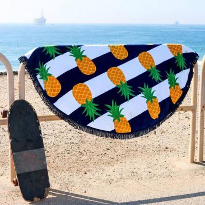 Round Beach Towel | Nautical Pineapple