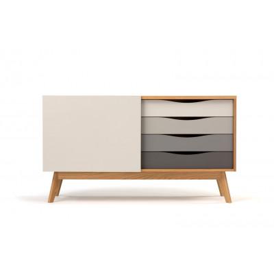 Sideboard Avon | Eiche / Weiß & Grau