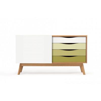 Sideboard Avon | Eiche / Weiß & Olive