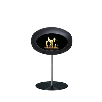 Bio Fireplace Ground Steel Low Black 50 cm | Steel Pole & Black Plate