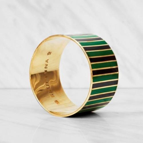 Stripe Bangle Bracelet   Green/Black