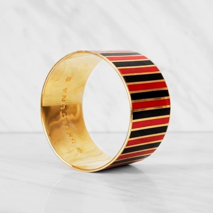 Stripe Bangle Bracelet   Black/Red