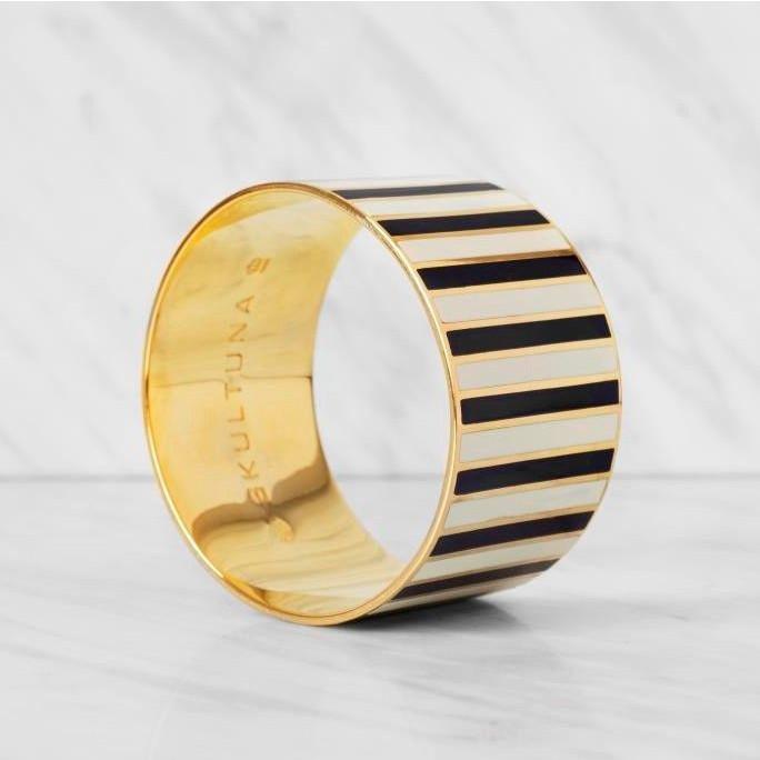 Stripe Bangle Bracelet   Black/White