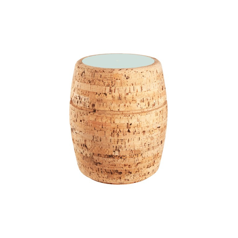 Side Table #1   Natural Cork + Light Blue Table Top