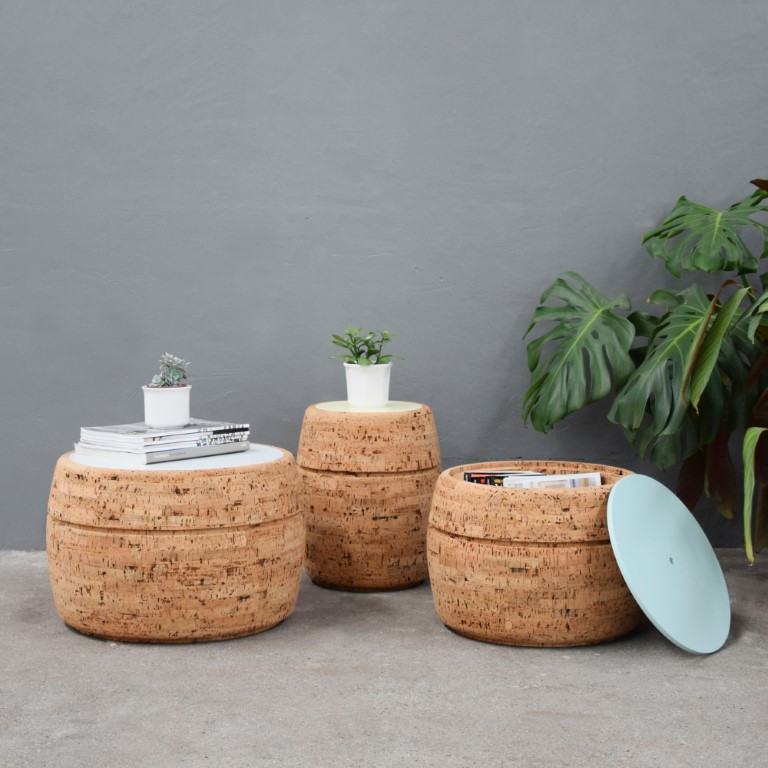 Side Table #1 | Natural Cork + Light Pink Table Top