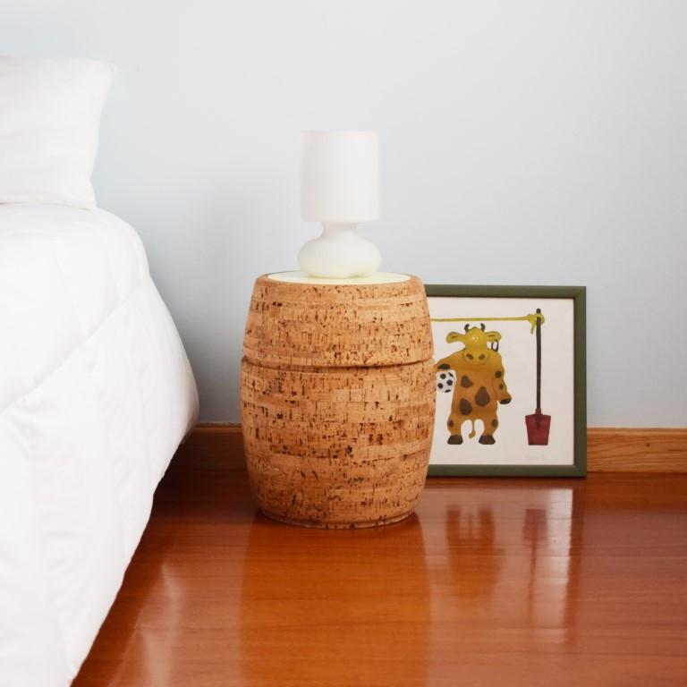 Side Table #1 | Natural Cork + Light Yellow Table Top